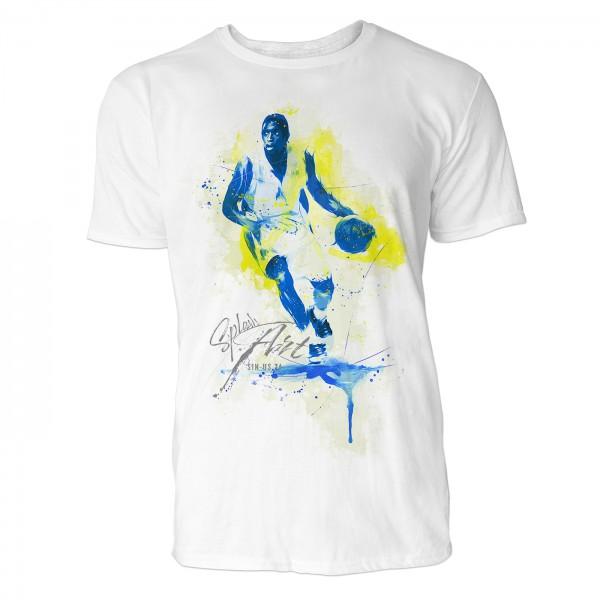 Basketball Angriff Sinus Art ® T-Shirt Crewneck Tee with Frontartwork