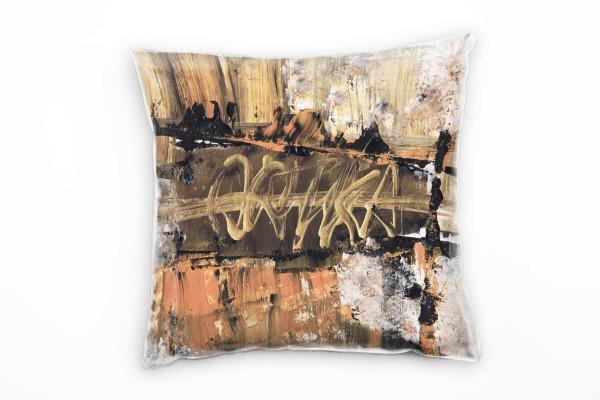 Couch Sofa Lounge Zierkissen in 40x40cm Gold Leuchtorange Schwarz