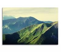 120x80cm Wandbild Berge Wiesen Sommer Landschaft