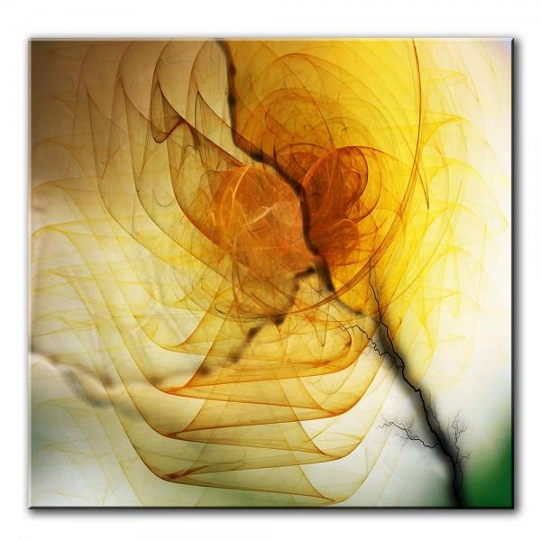 Goldblume, abstrakt, 60x60cm