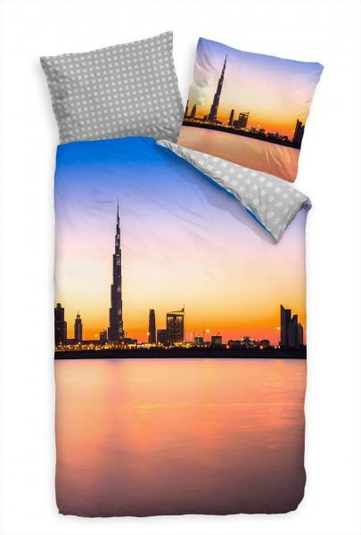 Dubai Skyline Burj Khalifa Sonnenuntergang Bettwäsche Set 135x200 cm + 80x80cm Atmungsaktiv