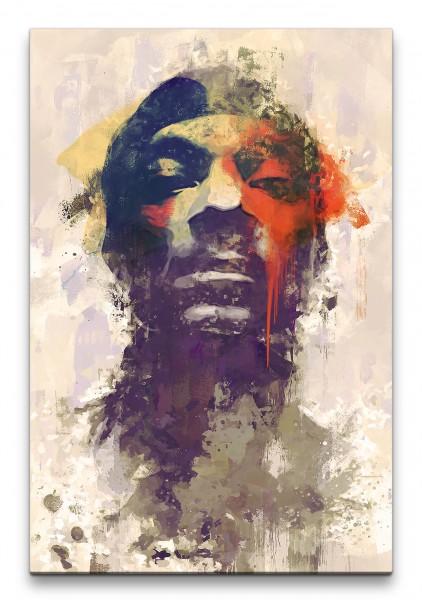 Snoop Dogg Porträt Abstrakt Kunst Doggfather Rapper Hip Hop Gangster 60x90cm Leinwandbild
