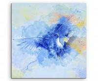 Weiße Taube im Flug in Blautönen mit Kalligraphie
