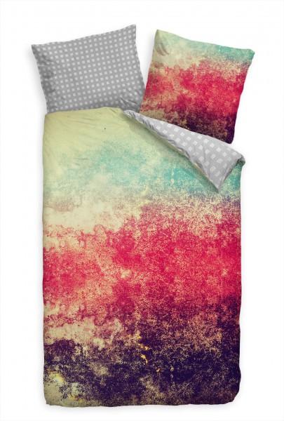 Abstrakt Grunge Hintergrund Rot Lila Bettwäsche Set 135x200 cm + 80x80cm Atmungsaktiv
