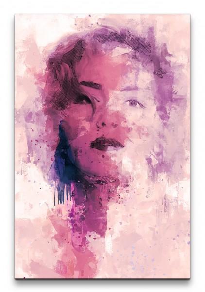 Sharon Stone Porträt Abstrakt Kunst Schauspielerin Rosa Farben 60x90cm Leinwandbild