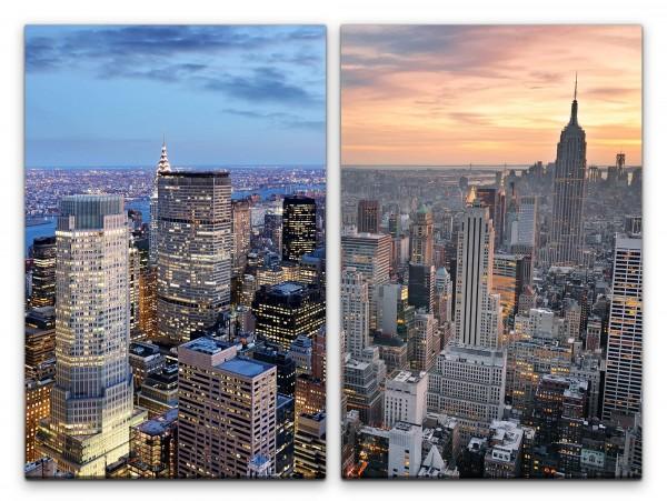 2 Bilder je 60x90cm New York Wolkenkratzer Hochhäuser Architektur Großstadt Gebäude Urban