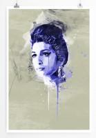 Amy Winehouse III 90x60cm Paul Sinus Art Splash Art Wandbild als Poster ohne Rahmen gerollt