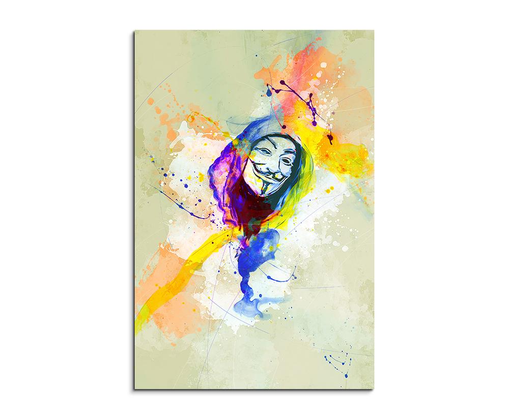 Anonymous Maske 60x60cm Aquarell Art Leinwandbild