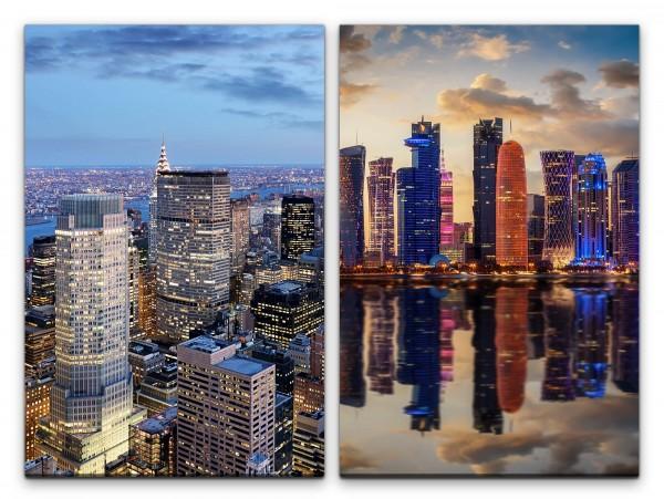2 Bilder je 60x90cm Wolkenkratzer New York Dubai Architektur Skyline Hochhäuser Mega City