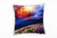 Landschaft, bunt, Sonnenuntergang, Wolken, Ukraine Deko Kissen 40x40cm für Couch Sofa Lounge Zierkis