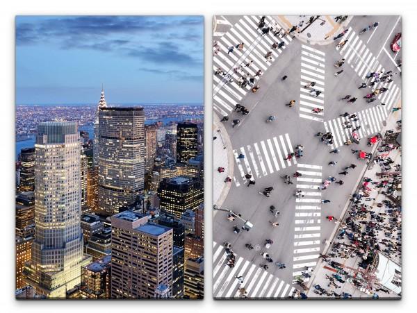 2 Bilder je 60x90cm Wolkenkratzer New York Tokio Kreuzung Menschen Skyline Großstadt