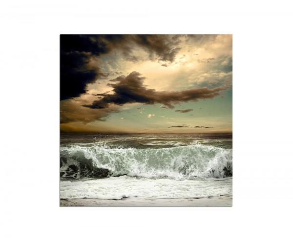 120x80cm Meer Sturm Wellen Wolken