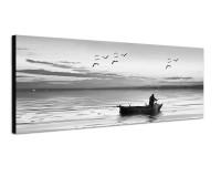150x50cm Meer Fischerboot Fischer Möwen Morgenlicht