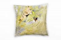 Couch Sofa Lounge Zierkissen in 40x40cm Pop Art Frau Gold Lichtblau Gelborange