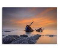 120x80cm Wandbild Thailand Meer Ufer Schiffswrack Sonnenuntergang