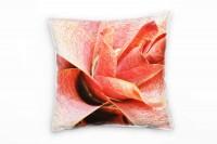 Macro, Blumen, rot, exotisch Deko Kissen 40x40cm für Couch Sofa Lounge Zierkissen