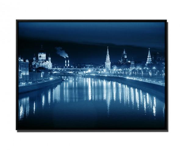 105x75cm Leinwandbild Petrol Blick über Moskwa von Big Stone Bridge Russland abends