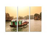 130x90cm Fluss Berge Halong-Bucht Vietnam Boot