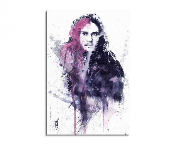 Game of Thrones Jon Snow 90x60cm  Aquarell Art Leinwandbild