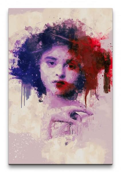 Helena Bonham Carter Porträt Abstrakt Kunst Schauspielerin Hut 60x90cm Leinwandbild