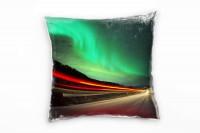 künstlerische Fotografie, türkis, rot, Straße, Polarlichter Deko Kissen 40x40cm für Couch Sofa Loung