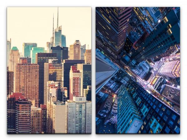 2 Bilder je 60x90cm New York Wolkenkratzer Mega City Architektur Großstadt Skyline Urban