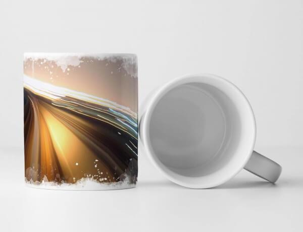 Tasse Geschenk Urbane Fotografie – Autobahn bei starker Geschwindigkeit