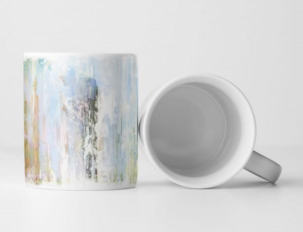 Tasse Geschenk helle Abstraktion in kalten Pastellfarben