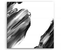 Künstlerische Fotografie – Schwarze Pinselstriche auf Leinwand exklusives Wandbild moderne Fotografi