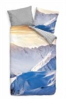Sonnenuntergang Alpen Schnee Panorama Bettwäsche Set 135x200 cm + 80x80cm  Atmungsaktiv