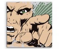 Comic Illustration – Mann in Rage auf Leinwand exklusives Wandbild moderne Fotografie für ihre Wand