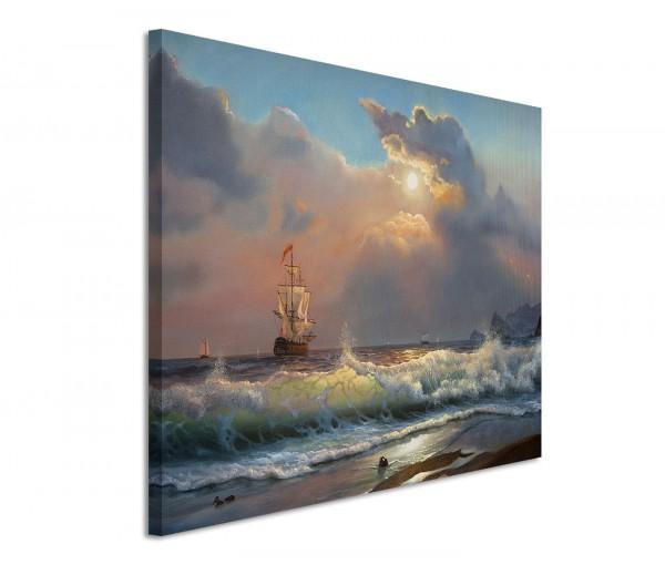 120x80cm Leinwandbild auf Keilrahmen Segelboot Strand Meer Blauer Himmel