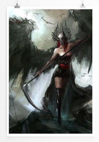 60x90cm Weibliche Kriegerin mit großen schwarzen Flügeln