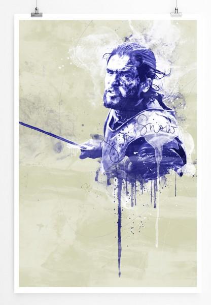 Jon Snow GoT 90x60cm Paul Sinus Art Splash Art Wandbild als Poster ohne Rahmen gerollt