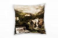 Landschaft, braun, grün, Fantasie, Wasserfall, Berge Deko Kissen 40x40cm für Couch Sofa Lounge Zierk