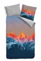 Sonnenuntergang Himalaya Blau Rot Bettwäsche Set 135x200 cm + 80x80cm  Atmungsaktiv
