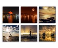 6 teiliges Leinwandbild je 30x30cm -  Skyline Vollmond Sonnenuntergang Meer Boot