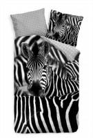 Zebra Herde Schwarzweiss Nahaufnahme Bettwäsche Set 135x200 cm + 80x80cm  Atmungsaktiv