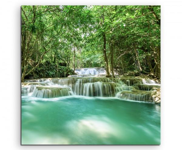 Naturfotografie – Tropischer Wasserfall, Huay Mae Khamin auf Leinwand exklusives Wandbild moderne Fo
