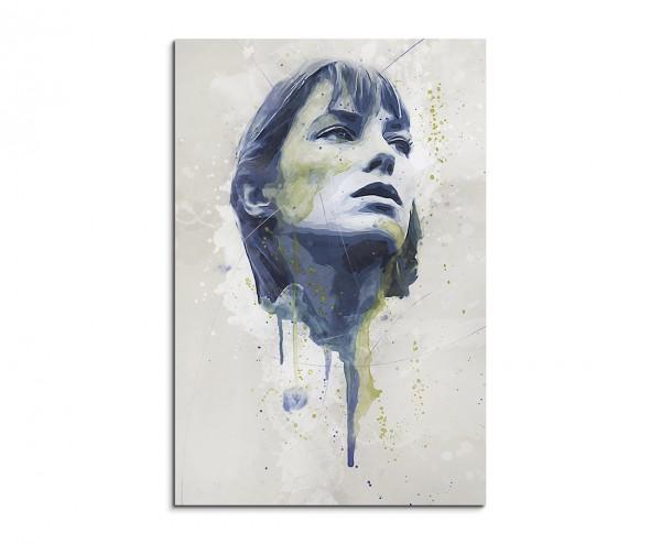 Jane Birkin Splash 90x60cm Kunstbild als Aquarell auf Leinwand