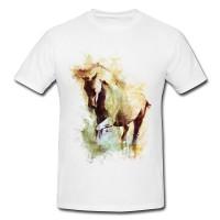 White Horse Premium Herren und Damen T-Shirt Motiv aus Paul Sinus Aquarell