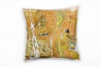 Couch Sofa Lounge Zierkissen in 40x40cm Briefmarken Gelborange Zitronengelb Weiß