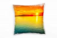 Seen, rot, gelb, blau, Sonnenuntergang Deko Kissen 40x40cm für Couch Sofa Lounge Zierkissen