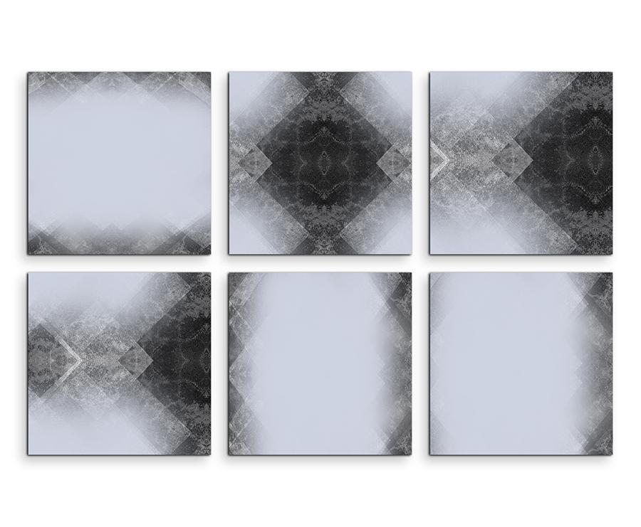 6 teiliges leinwandbild je 30x30cm abstrakt muster grau wei schwarz sinus art. Black Bedroom Furniture Sets. Home Design Ideas