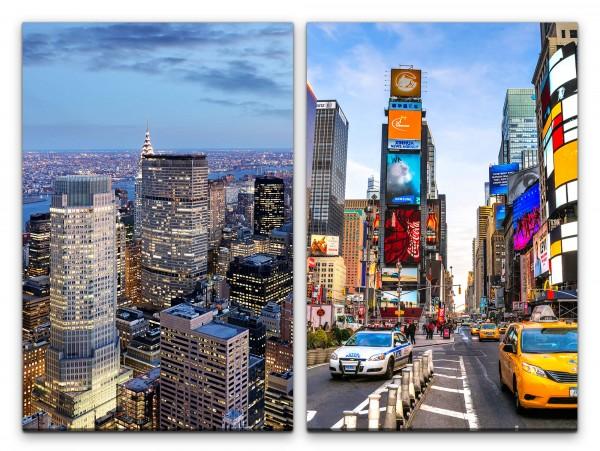 2 Bilder je 60x90cm New York Wolkenkratzer Times Square gelbes Taxi USA Großstadt Mega City