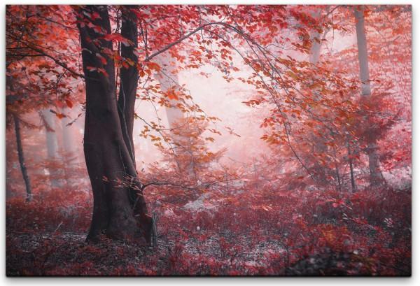Wald mit pinken Blättern Wandbild in verschiedenen Größen