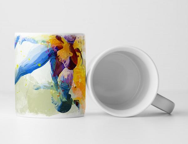 Synchronspringen Tasse als Geschenk, Design Sinus Art