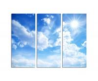 130x90cm blauer Himmel Wolken Sonnenstrahlen