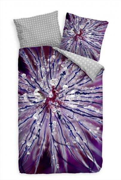 Blüte Abstrakt Lila Purpur Bettwäsche Set 135x200 cm + 80x80cm Atmungsaktiv