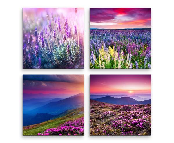 4 teiliges Leinwandbild je 30x30cm  -  Lavendel Blumenwiese Sommer